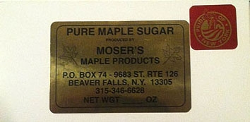 Maple Sugar Candy Label